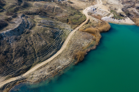Aerial shot of beautiful blue lake Stock Photo