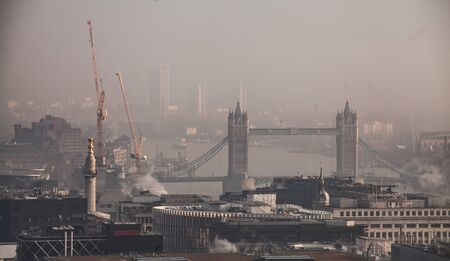 Aerial London view on a foggy day from St Paul's cathedral Stock Photo