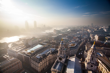 Aerial London view on a foggy day from St Pauls cathedral