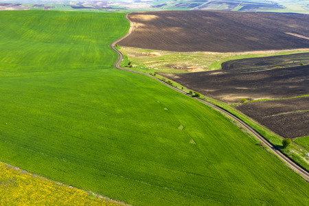 Aerial, drone view of endless lush pastures and farmlands with green fields and meadows.