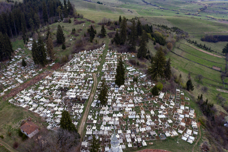 Aerial view of a cemetery.