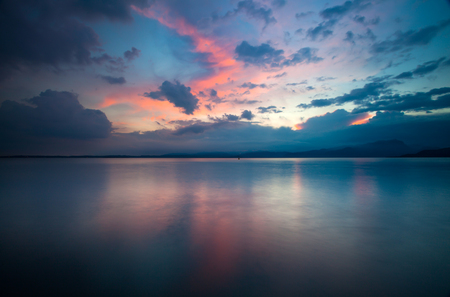 Panoramic view of beautiful Lake Garda in the sunset Stok Fotoğraf