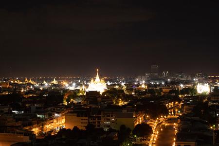 Bangkok night view with skyscraper in business district in Bangkok Thailand. Редакционное