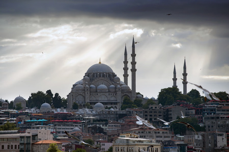 Istanbul cityscape with Suleymaniye Mosque, Turkey Editorial