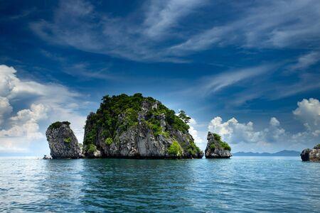 Rocks and sea, tropical islands in Krabi, Thailand.
