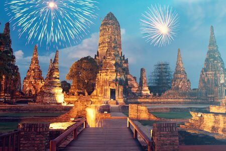 Exotic New Year - Celebrating the New Year in Thailand with fireworks at Wat Chai Watthanaram Buddhist temple,Thailand
