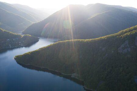 Aerial view of beautiful mountain lake in Transylvania, Romania.