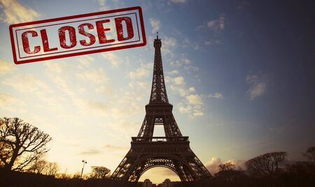 Eiffel tower closed by a ministerial decree in order to counter the spread of Coronavirus.
