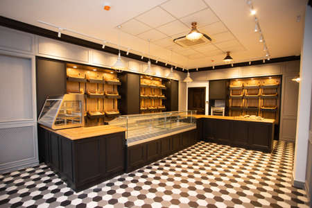 Empty modern bakery shop opening soon after quarantine.