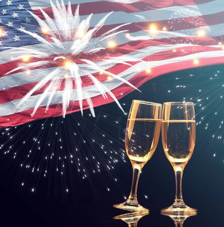 Celebrating Independence Day. United States of America USA flag with champagne background for 4th of July