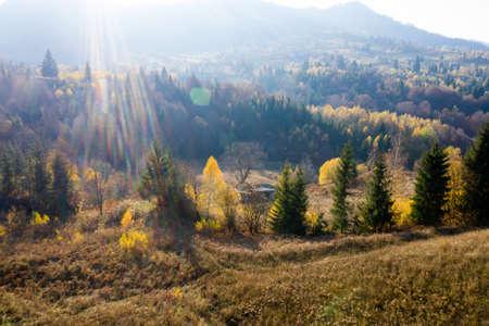 Colorful magic autumn mountain landscape.