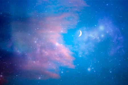 Ramadan Kareem background with crescent moon, stars and glowing clouds.