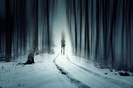 Mysterious man walking through a fairytale forest