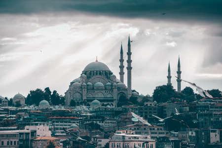 Istanbul cityscape with Suleymaniye Mosque, Turkey