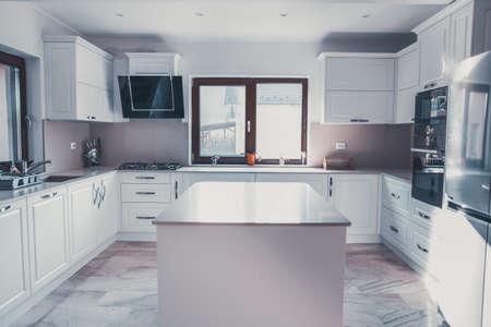 Modern, contemporary kitchen room interior.
