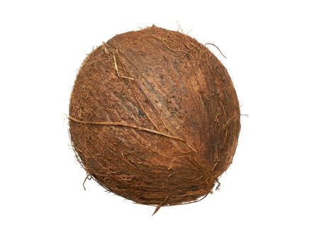 Single whole coconut isolated over white background Stock Photo - 2923267