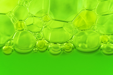 close-up shot of green soap bubbles. suds texture Stock Photo