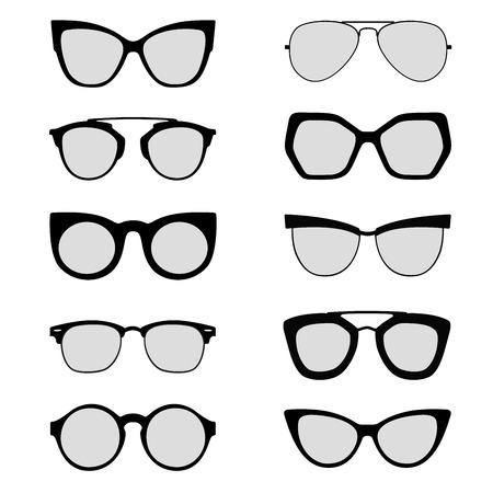 gray scale: Sunglasses silhouettes black and white vectors Illustration