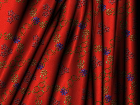 courtain: Illustration of a brocade of flowers Stock Photo