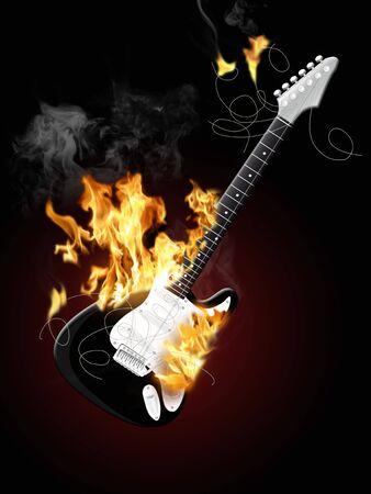 shin: Illustration of an electrical guitar burning