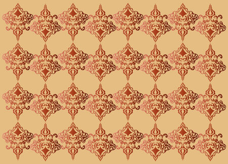 courtain: Orange damask vector