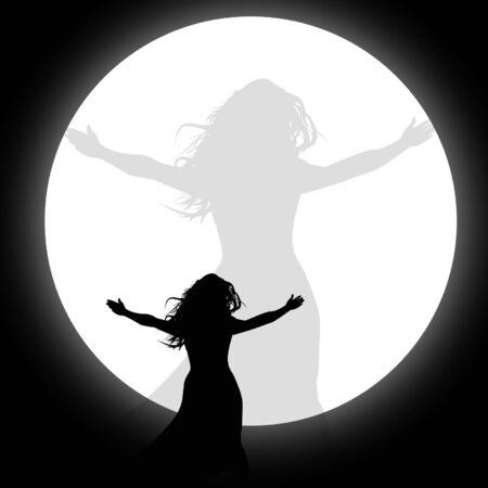 Silhouet van wonman in de moonlingt