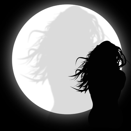 light shadow: Silhouette of a woman in the moonlight Illustration