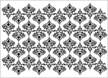 courtain: Damask black and white Illustration