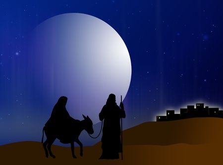 Virgin Mary and Joseph are on track to Belem Stock Photo - 8308844