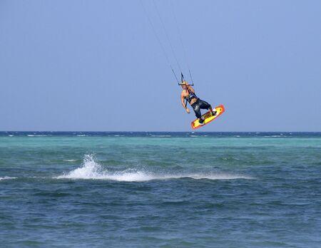towed: Kite surfer 1 Stock Photo