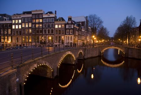 dutch canal house: Amsterdam night 9 Stock Photo