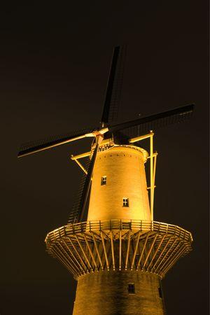airstream: Dutch windmill at night Stock Photo