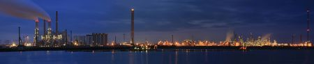 Refinery at night panorama