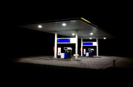 petrol stations: Gas station at night  Stock Photo