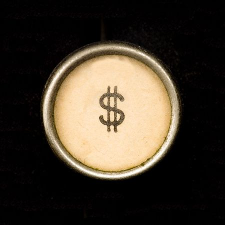 no money: Typewriter dollar sign