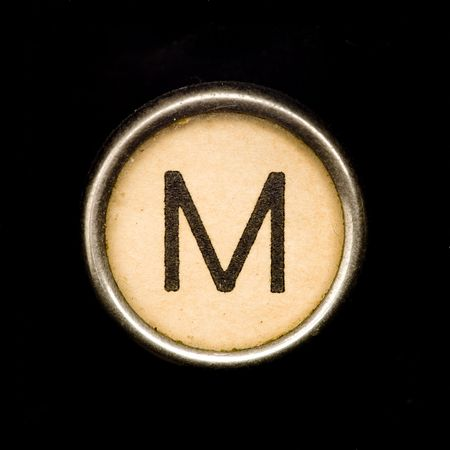 Typewriter letter M Stock Photo