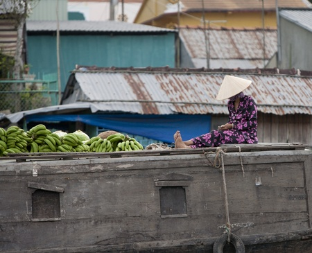 can tho: CAN THO, VIETNAM - DECEMBER 6, 2012: Unidentified Vietnamese woman counting money on the roof of her boat at the Floating Market in Can Tho, december 6, 2012 in Vietnam.