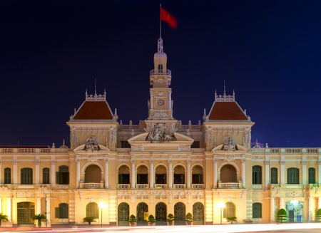 People's Committee building at night in Ho Chi Minh City, Vietnam