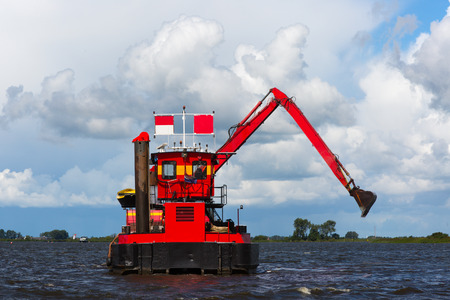 Dredger working on the lake