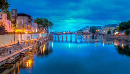rajasthan: Romantic mood at night in Udaipur, the \\\\\\\Venice of India\\\\\\\. Stock Photo