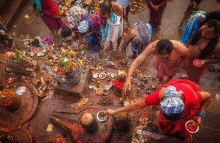 ganges: Hinduistic offerings at Kedar Ghat in VaranasiUttar PradeshIndia. Editorial