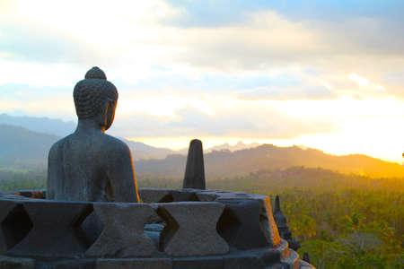 buddhist structures: Borobodur Sunset Stock Photo