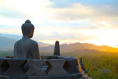 Borobodur Sunset Stock Photo