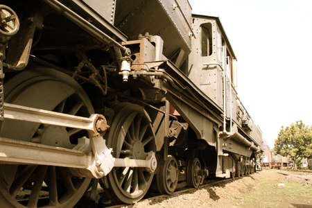 bygone: Old Steam Locomotive Stock Photo