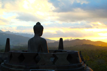buddha tranquil: Borobodur Sunset Stock Photo