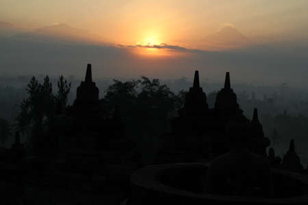 newage: Borobodur Sunrise Stock Photo