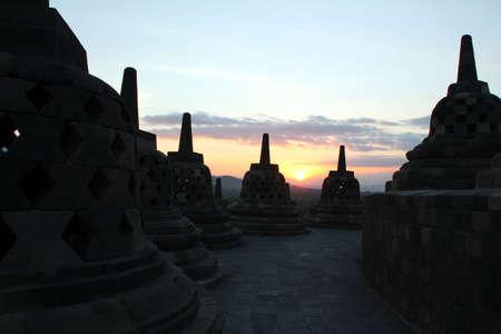 newage: Borobodur Sunset Stock Photo