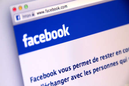 Frans Facebook aanmeldingspagina gebruikt door miljoenen gebruikers over de hele wereld