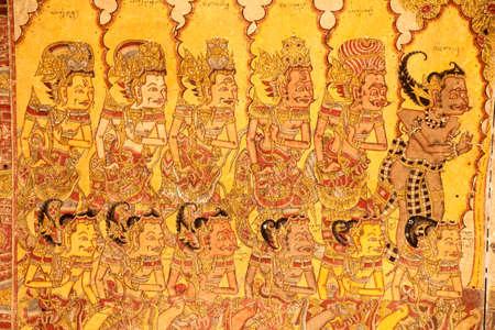 Klungkung, INDONESIË - juli 2012: Het is nog steeds mogelijk om authentieke historische en culturele gebieden van Bali, zoals de Kertagosa hal van justitie verkennen met zijn traditionele vergulde muurschilderingen. 15 juli 2012 in Klungkung, Indonesië
