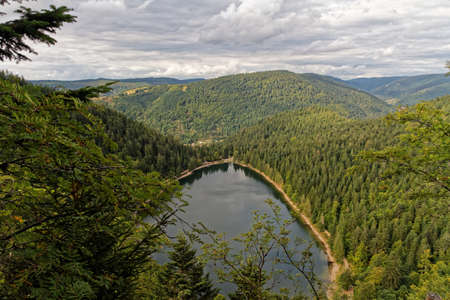 Scenic top view of mountain lake surrounded by trees, Vosges, France
